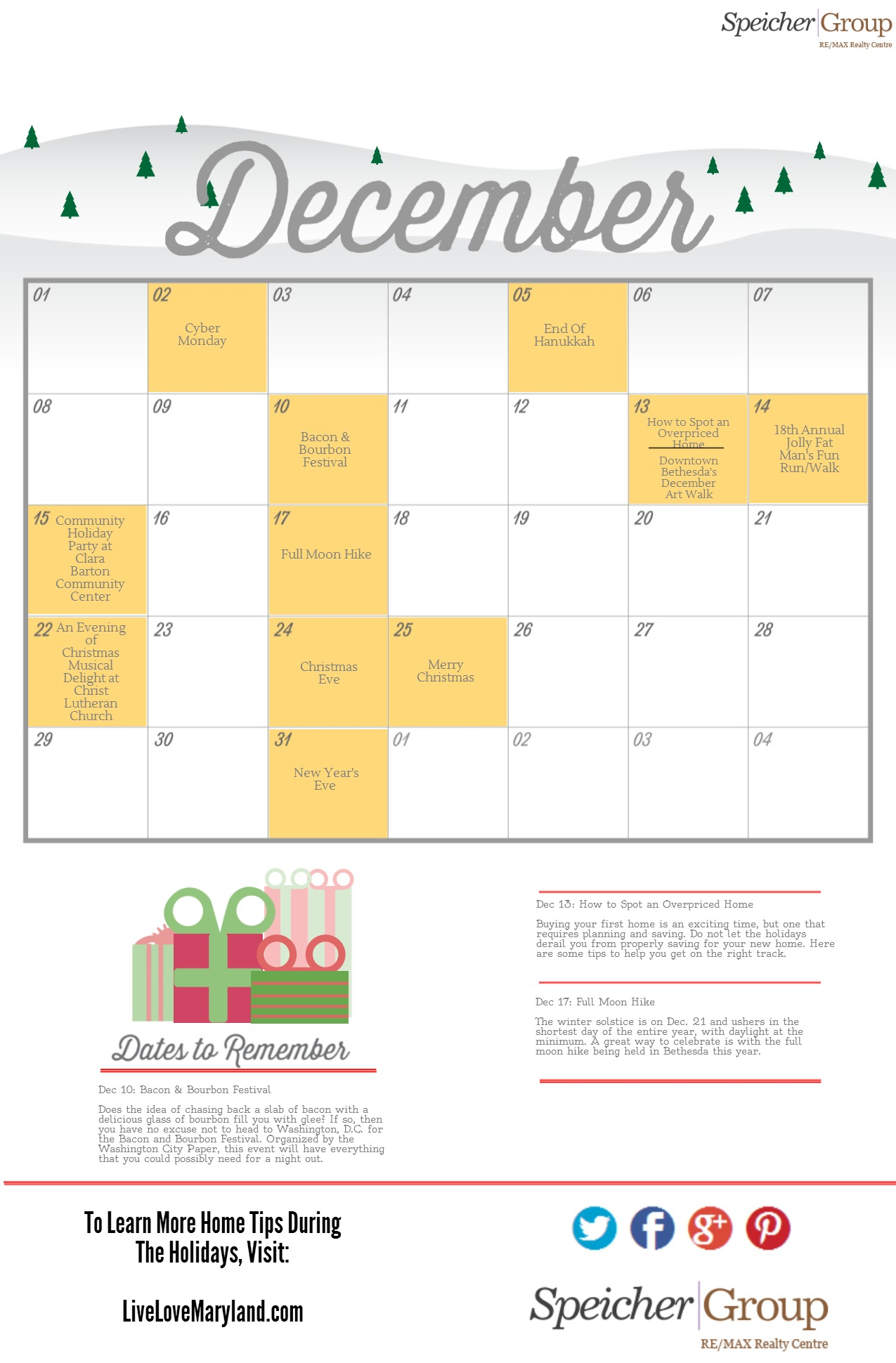 Your Bethesda, MD Holiday Calendar